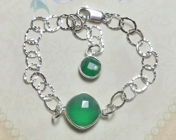 Green Onyx Gemstone Sterling Silver Hammered Cable Link Adjustable Bracelet