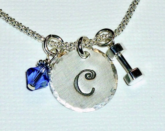 Personalized Dumbbell Fitness Hand Stamped Sterling Silver Initial Charm Necklace
