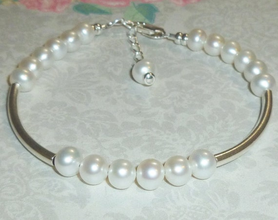 Beaded Round White Cultured Freshwater Pearl Sterling Silver Adjustable Curved Tube Stacking Bracelet