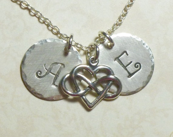 Personalized Couples Infinity Heart Hand Stamped Sterling Silver Initial Charm Necklace