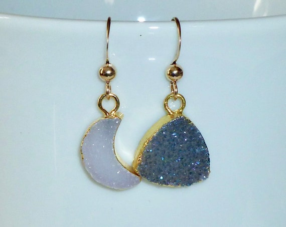 Mismatched Celestial Druzy Moon and Triangle Earrings