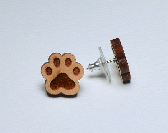 Laser Cut Natural Wood Dog Paw Stud Earrings