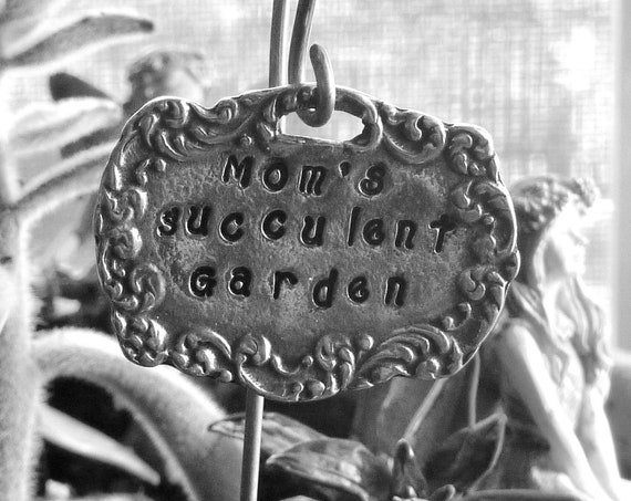 Personalized Mom's Succulent Garden Vintage Style Miniature Pewter Fairy Garden Sign