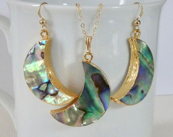Abalone Shell Crescent Moon Earring and Necklace Jewelry Set - Crescent Moon Jewelry