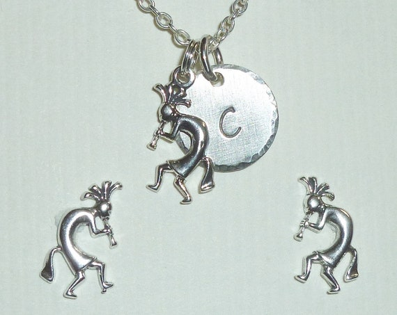 Personalized Kokopelli Hand Stamped Sterling Initial Necklace and Post Earring Jewelry Set