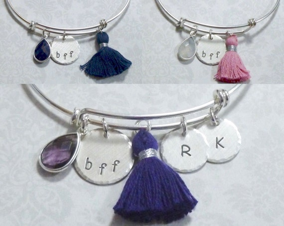 BFF Best Friends Sterling Silver Adjustable Bangle Bracelet with Matching Tassel and Gemstone Dangle