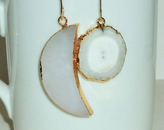 Mismatched Celestial White Agate Crescent Moon and White Solar Druzy Quartz Earrings