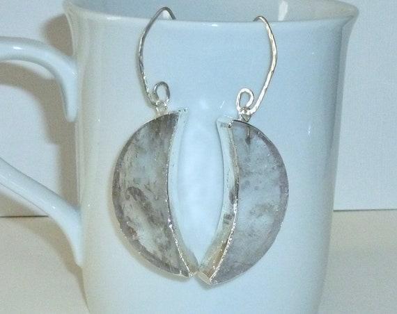 Celestial Crystal Quartz Crescent Moon Argentium Silver Earrings