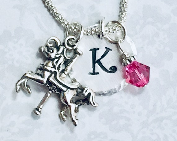 Personalized Horse Carousel Hand Stamped Sterling Silver Initial Charm Necklace