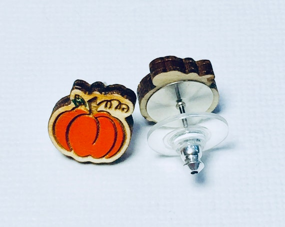 Hand Painted Laser Cut Wooden Pumpkin Stud Earrings