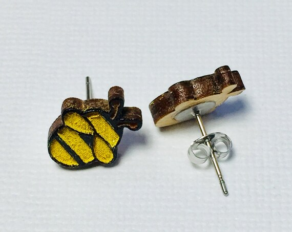 Hand Painted Laser Cut Wood Honey Bee Stud Earrings