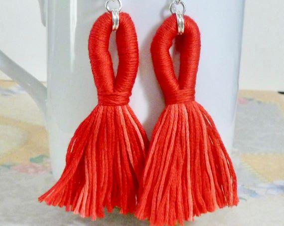 Shades of Red Looped Tassel Earrings