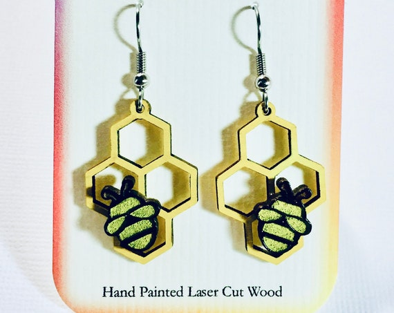 Mismatched Honey Bee Honey Comb Hand Painted Laser Cut Wood Earrings