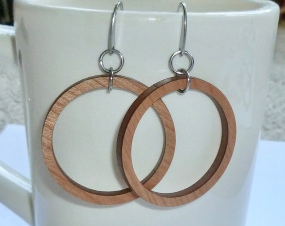 Laser Cut Cherry Wooden Floating Hoop Earrings