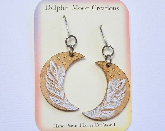 Hand Painted Laser Etched Wooden Feather Crescent Moon Diffuser Earrings