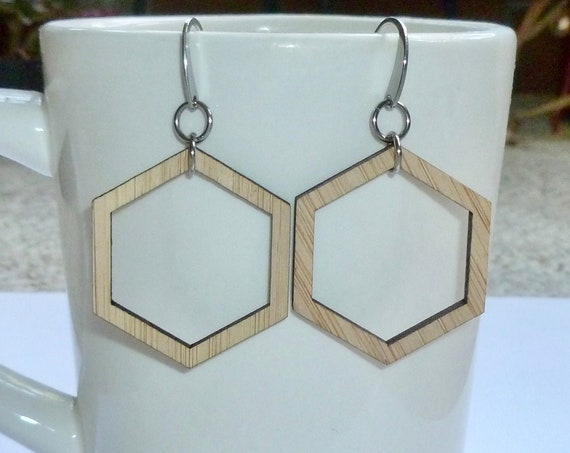 Laser Cut Wood Geometric Floating Hexagon Earrings