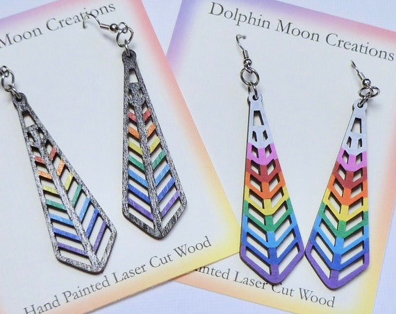 Hand Painted Laser Cut Wooden Long Geometric Rainbow Earrings