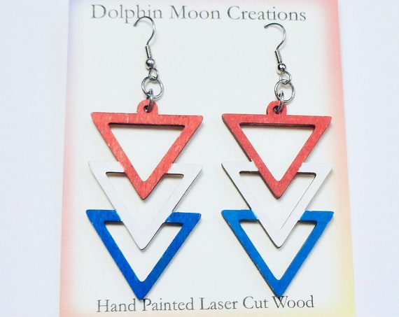 Hand Painted Laser Cut Wooden Red White Blue Triple Triangle Earrings