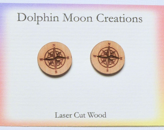 Compass Rose Stud Earrings - Wanderlust Jewelry - Gift for Traveler - Natural Laser Cut Wood