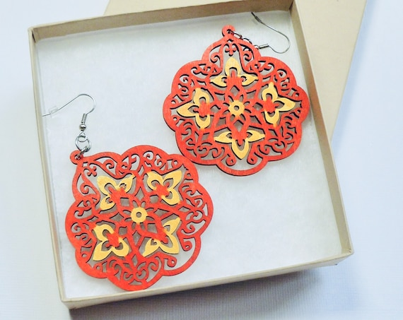 Red and Yellow Earrings, Large Lightweight Hand Painted Red and Yellow Laser Cut Wood Jewelry