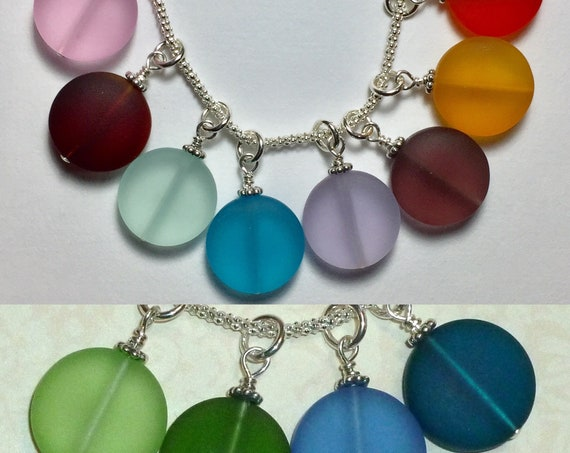 Add a Dangle Recycled Sea Glass 15mm Puffed Coin with Sterling Silver - 12 Colors available