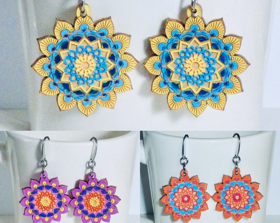 Mandala Hand Painted Laser Cut Wooden Earrings