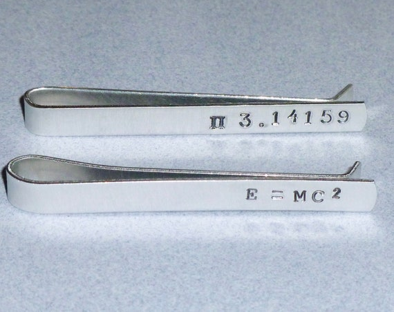 Pi or E = MC 2 Mathematic Equation Themed Hand Stamped Aluminum Tie Bar Tie Clip