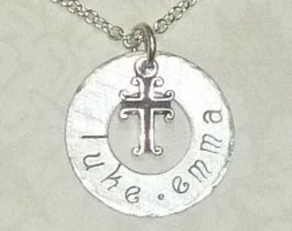 Personalized Name with a Cross Hand Stamped Sterling Silver Washer Necklace