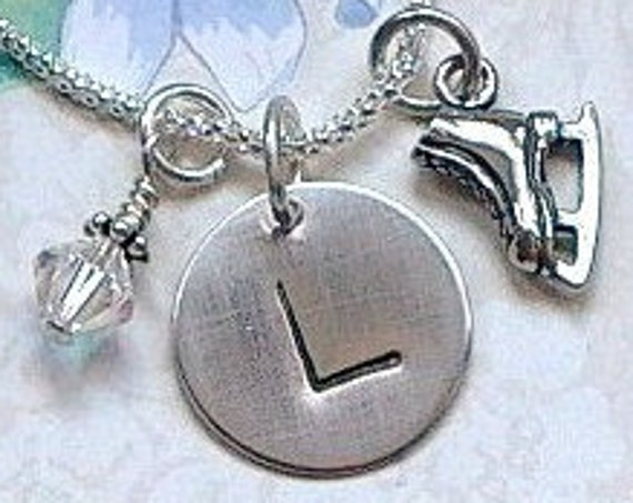 Personalized Ice Skate Hand Stamped Sterling Silver Initial Charm Necklace