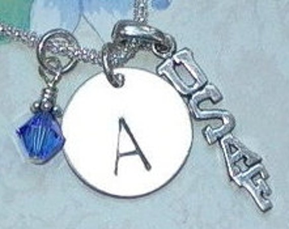 Personalized Air Force Hand Stamped Sterling Silver Initial Charm Necklace