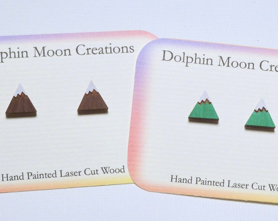 Hand Painted Laser Cut Wooden Mountain Stud Earrings