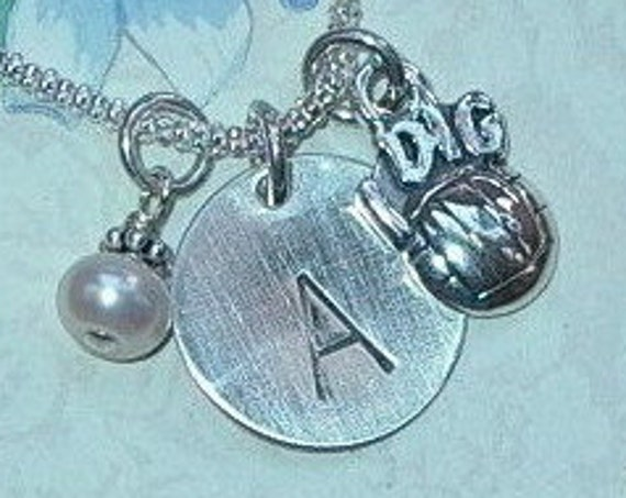 Personalized I Dig Volleyball Hand Stamped Sterling Silver Initial Charm Necklace