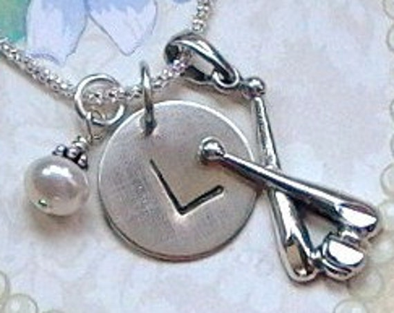 Personalized Baseball Bat Hand Stamped Sterling Silver Initial Charm Necklace