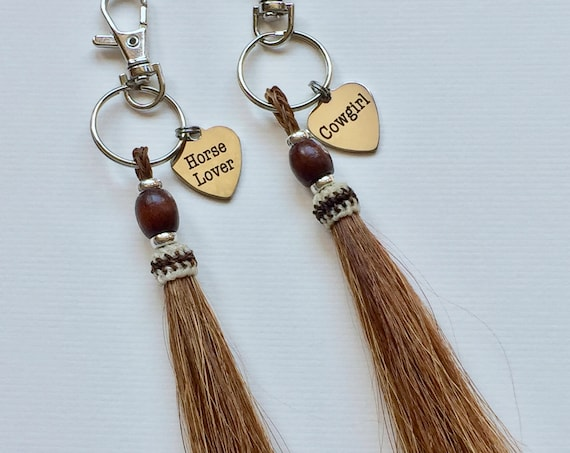 Equestrian Beaded Sorrel Brown Horse Hair Tassel Key Chain