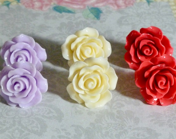 Rose Earrings - Choose from 3 colors Whisper Purple Cream or Red