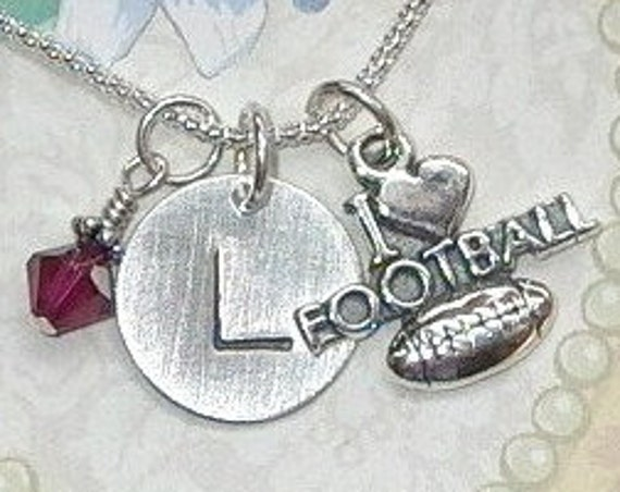 I Love Football Personalized Hand Stamped Sterling Silver Initial Charm Necklace