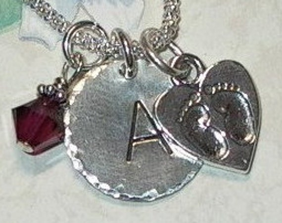 Baby Footprints on a Heart Hand Stamped Sterling Silver Initial Charm Necklace