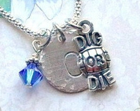 Personalized Volleyball Dig or Die Hand Stamped Sterling Silver Initial Charm Necklace