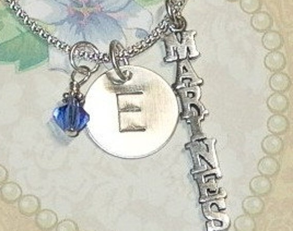 Personalized Marines Hand Stamped Sterling Silver Initial Charm Necklace