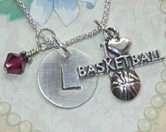Personalized I Love Basketball Hand Stamped Sterling Silver Initial Charm Necklace