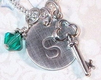 Key Necklace, Personalized Key Hand Stamped Sterling Silver Initial Charm Necklace, Key Jewelry