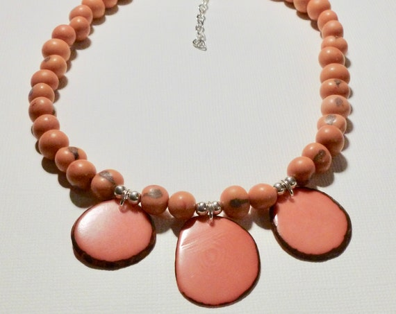 Pink Tagua Nut Slice and Acai Beaded Sterling Silver Choker Necklace