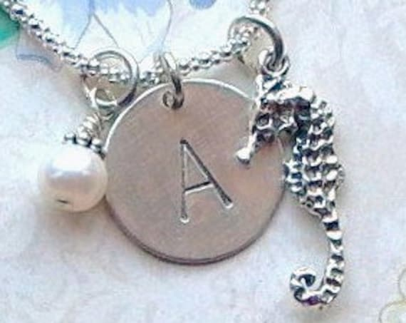 Personalized Seahorse Hand Stamped Sterling Silver Initial Charm Necklace