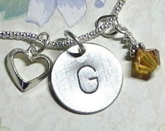 Personalized Heart Hand Stamped Sterling Silver Initial Charm and Birthstone Necklace