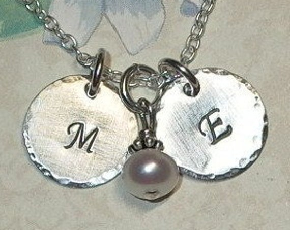 Couples Petite Two Initial Hand Stamped Sterling Silver Necklace