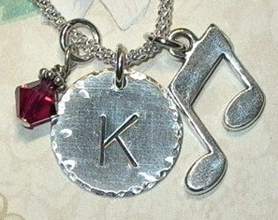 Personalized Music Note Hand Stamped Sterling Silver Initial Charm Necklace