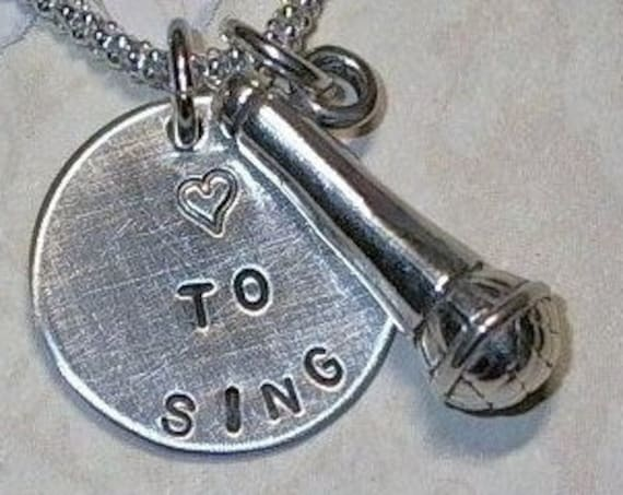 Love to Sing Microphone Hand Stamped Sterling Silver Charm Necklace