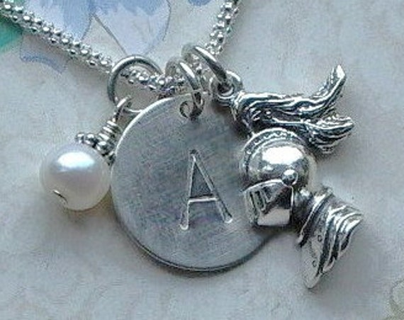 Knight Trojan Mascot Hand Stamped Sterling Silver Initial Charm Necklace