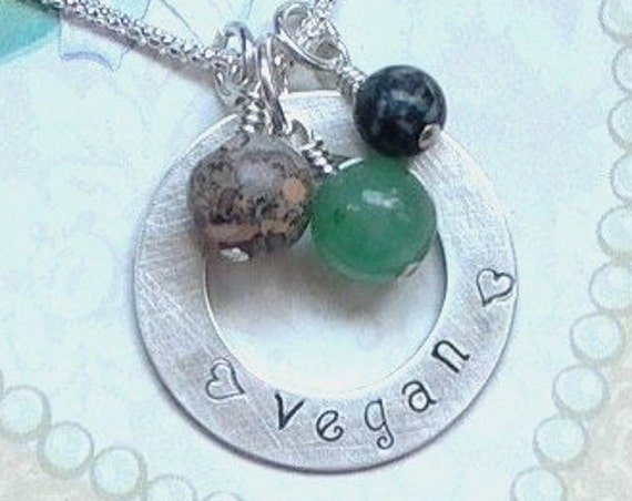 Vegan Hand Stamped Sterling Silver and Gemstone Washer Charm Necklace