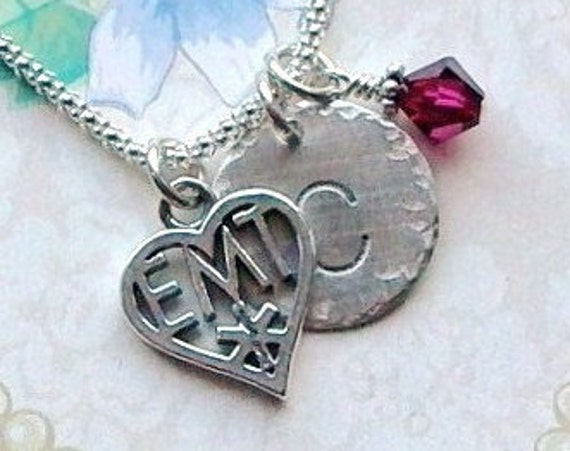 EMT Personalized Emergency Medical Technician Hand Stamped Sterling Silver Initial Charm Necklace